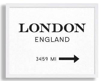 London England Art Print Black and White Print Industrial Art Interior Design London Sign like Marfa sign in TV Show Modern Art Print