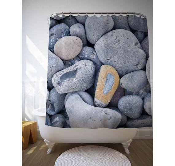 Bath Curtain Beach Pebbles Photo, Bath Decor, Nature Photography, Shower Art, Sublimation Printing