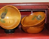 Rustic Handpainted Wooden Bowls in the Woodcroftery Pinecone Hand Painted Style Single Serving Snack Bowls