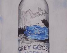 Original Vodka Watercolor Painting. Bar wall art. Grey Goose Bottle. Hard Liquor sign. Bar painting. Liquor picture. Watercolor art.