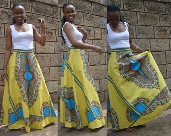 African print skirt - Dashiki maxi skirt in yellow. African print maxi skirt