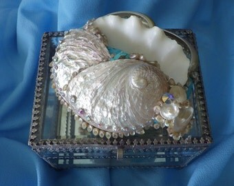Glass decorative box with exotic shells and swarovski crystals