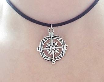 compass choker necklace - fashion jewellery - compass necklace - grunge jewellery - choker for women