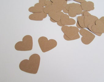 Large Heart Shaped Confetti | Kraft Paper Heart Confetti | Rustic Wedding Confetti | Table Decoration | Pack of 50