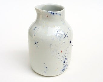 """""""Pollen"""" collection porcelain jar. Small pitcher, jug milk or vase, made by hand in my Studio."""