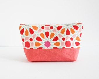 Linen Make-up Bag | Zip Pouch Cosmetic Bag in Coral Floral with Coral Linen by s/f Designs