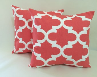 2 - 16x16 Pillow Cover Set with Envelope Closure in Coral Fynn Fabric