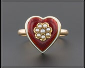Antique Red Guilloche Enamel Heart Ring, Pearl Ring, 14k Gold