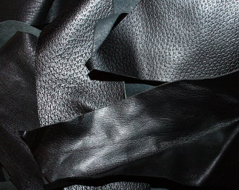 100g 250g 500g 1kg  BLACK Leather Remnants Pieces Offcuts Scraps / Premium Calf Skin / Craft Supply Bundle Mixed Leathers