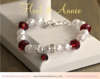 January Beaded Birthstone Bracelet, Birthstone Jewelry, January Birthstone, Dark Red, Child, Adult, Birthstone Charm, Gemstone and Pearl