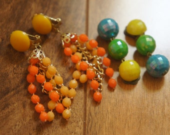 Vintage Jewelry Earrings  Clip on  Signed Hong Kong /Austria /Beads/ Chain /Filigree/ Orange/ Yellow/ Blue/ Green   Y-066