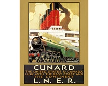 Cunard LNER Railway Travel Poster Vintage Travel Art Advertisement Wall Art Home Decor