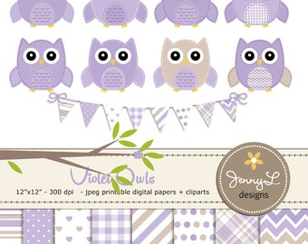 Violet Owls Clipart and Digital Papers Set, Lavander Baby Shower Stitched Owls, Tree Branch, Birthday Invitations, Digital Scrapbooking