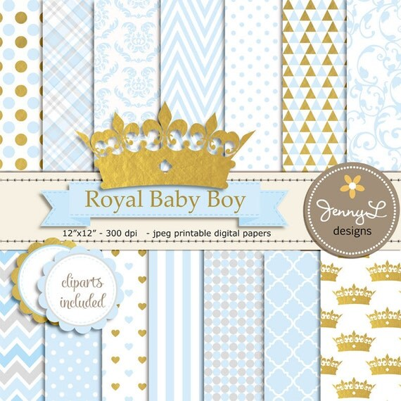 Gold Crown Digital Papers And Clipart, Royal Prince Boy