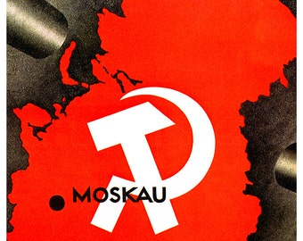 Fight for the Soviet Union Poster, Vintage Russian Communist Propaganda, Moskau, Moscow, Communism, USSR, Russia