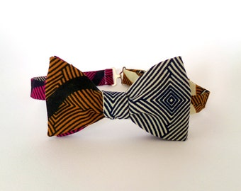 African Bow Tie Self Tie Ethnic Blue White Gold Orange Hot Pink Bright Summer Bow Tie Outdoor Wedding Colorful Vibrant Boys Mens Adjustable