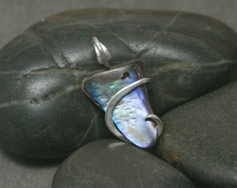Mini Paua (Abalone) Shell Cold Forged Sterling Silver Pendant