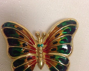 """Cloisonné """"Butterfly"""" Broach / Pin    Mother's Day Gift"""
