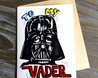 Uniquely Hand-Drawn nerdy Darth Vader Star wars Father's Day Card - blank inside