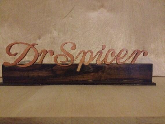 Wood Name Plate Custom Name Plate Desk by JazzcordionDesigns