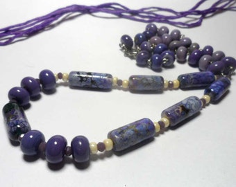 Beaded Jewelry Handmade Lampwork Necklace. Purple, lilac, ivory.