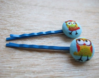 Button Bobby Pin - Owls (Set of 2)