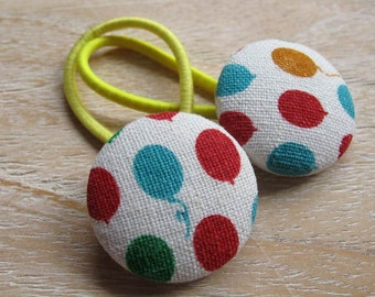 Fabric Covered Button Hair Elastic – Balloons (Set of 2)