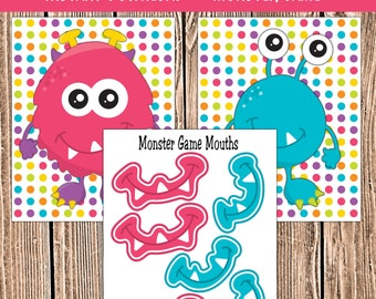 Monsters Party Supplies Party Game, Pin the Mouth on the Monster | Monster Party Game Printable DIY Instant Download