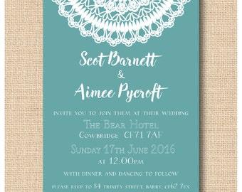 DIY Printable Lace Doily Wedding Invitation