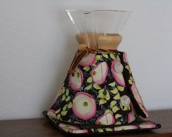 SALE: Chemex Cozy, 8 Cup Pot, Brown and Pink Floral