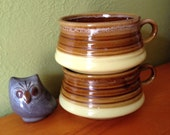Flying Saucer Shaped 70s Ceramic Stacking Soup Mugs