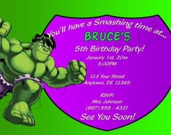 Hulk Birthday Invitation - Printable