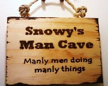 Man Cave Sign with Rope Wood Sign, Most POPULAR Item