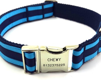 Layered Stripe Dog Collar Personalized Engraved Name Phone Buckle Navy/ Blue