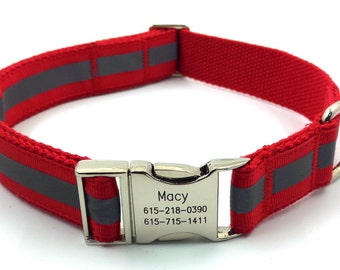 Reflective Personalized  Dog Collar Free Engraved Customized Buckle  Name Phone Number Red