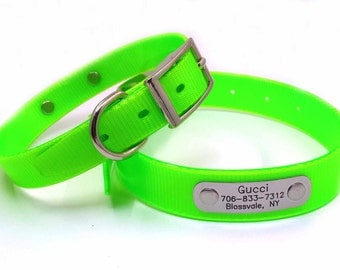 Engraved  Dog Collar Personalized Customized NamePlate Waterproof Green