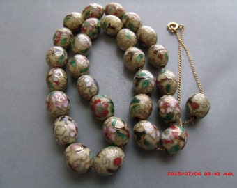 """Vintage Cloisonne 29 (11mm by 9mm ) beads Necklace 17"""" on gold filled chain free shipping usa"""