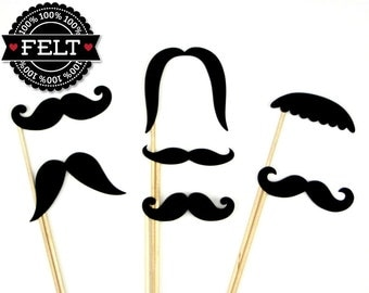 FELT Photo Booth Props - 7 Mustache Party Props