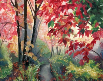 Colorful Woodland Oil Painting - Giclee Print by Emily Luella