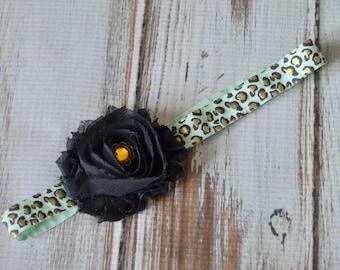 Black & Mint Leopard Headband