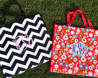 Large reusable shopping tote! Monogram one for yourself and one for a friend! Cheveron or floral! Cute! 2'x2'!