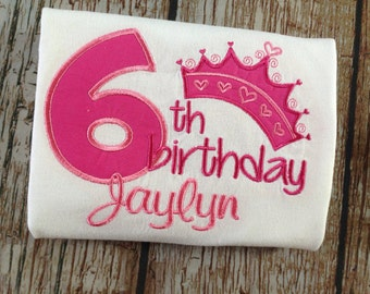 Crown inspired custom embroidered birthday shirt with personalization