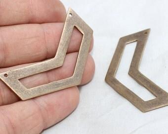 3 Pcs Antique Bronze Chevron Necklace , Triple Chevron Pendant, 15x50mm , ANS51