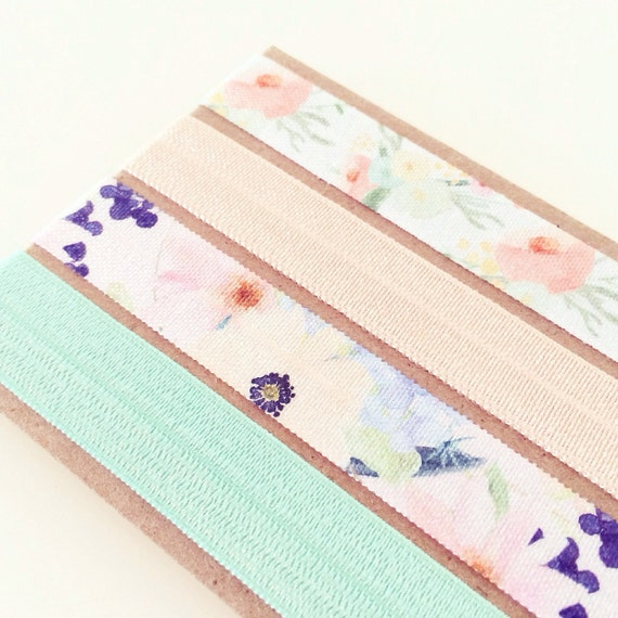Watercolor Floral Headband Set | Vintage Floral Print Elastic Headbands for Baby Toddler Girls Adults, Mint Teal Pastel Peach Boho Headband