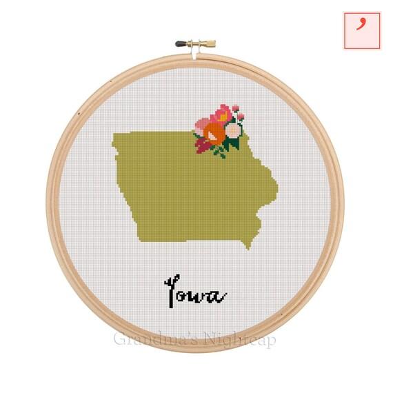 Iowa cross stitch pattern modern