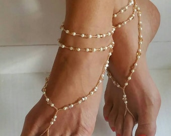 Warm golden crystal and pearl barefoot sandals, Beach sandals, Summer beach jewelry, Beach wedding sandals, Gift for her