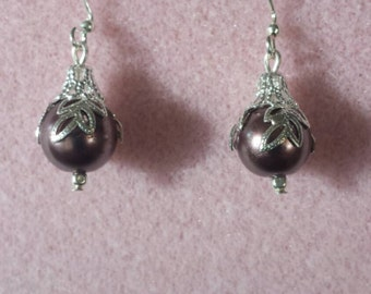 Burgundy pearls with silver accents
