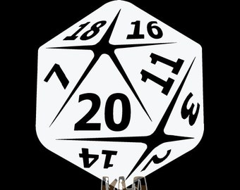 20 SIDED DICE vinyl Sticker / Decal Roleplaying Game Role Play RPG Pen and Paper
