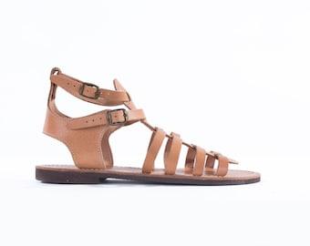 Gladiator-Genuine Greek Leather Sandal - Andromeda-natural leather