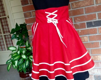 Vintage Circle Apron / Red with White Trim